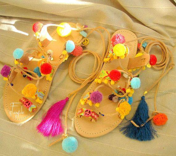 ANEMONE  Boho Leather Gladiator sandals / Wrap up by sivylla
