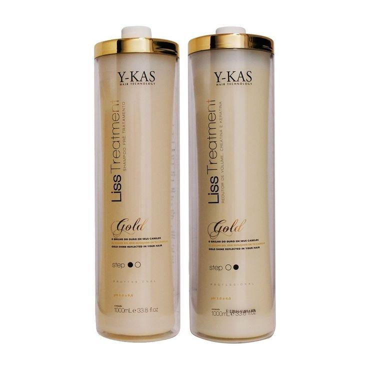 Y-kas Gold Cirugia Plastica Capilar / Plastic Surgery / Brazilian Keratin Blowout Blow Dry Hair Shampoo (1000ml) + Treatment (1000ml) Effective Volume Reducer