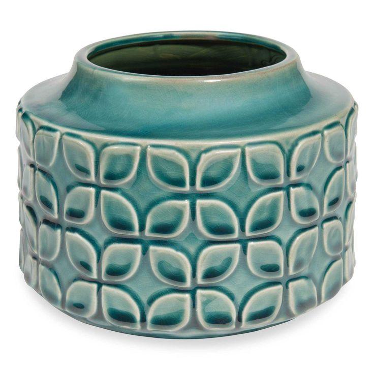Vase en grès bleu canard H.20cm MARGUERITE