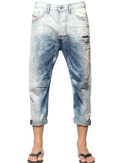 18cm Narrot Bleached Stretch Denim Jeans