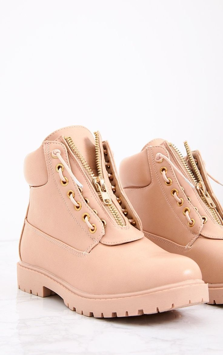Nude Zip Up Boots  Girl stay bang on trend in these boots. Featuring a lace and zip fastening, te...