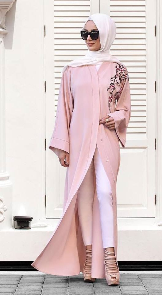 Blush pink embroidered abaya