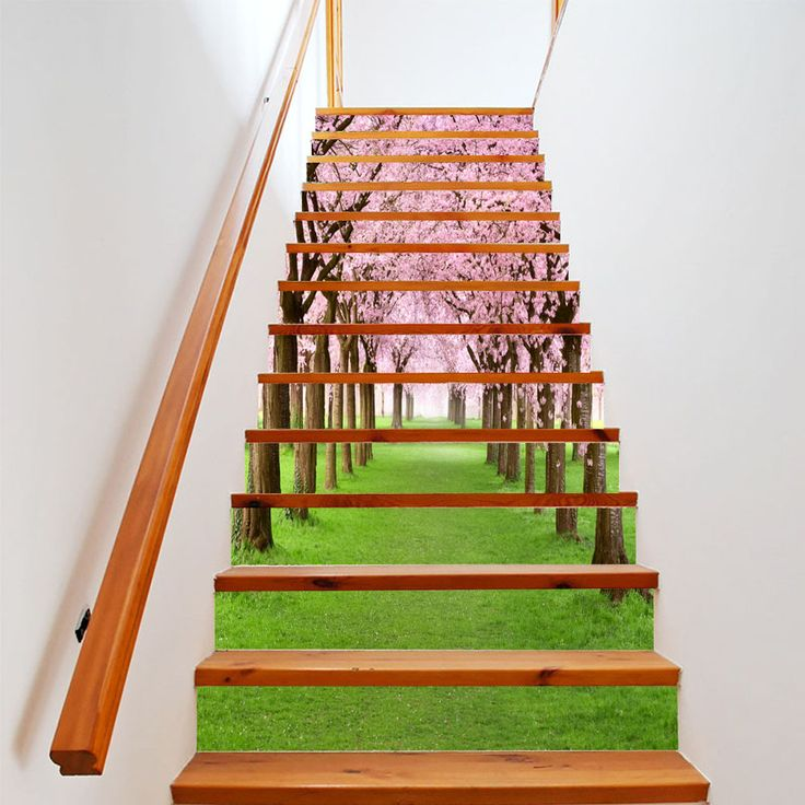 Wonderful 13 Pcs/Set Creative 3D DIY Stairway Stickers Cherry Tree Beauty Street  Stairway Wall Sticker