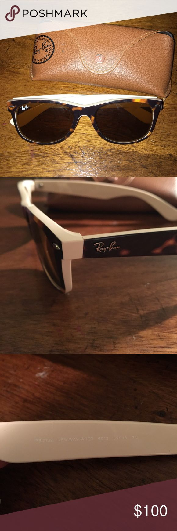 Authentic ray-ban waferers with case These are classic ray-ban wayfarers that have barely been touched. Authenticity packet and the cleaner are still in the packet untouched. Size is 55[]18. Price is negotiable! Ray-Ban Accessories Sunglasses