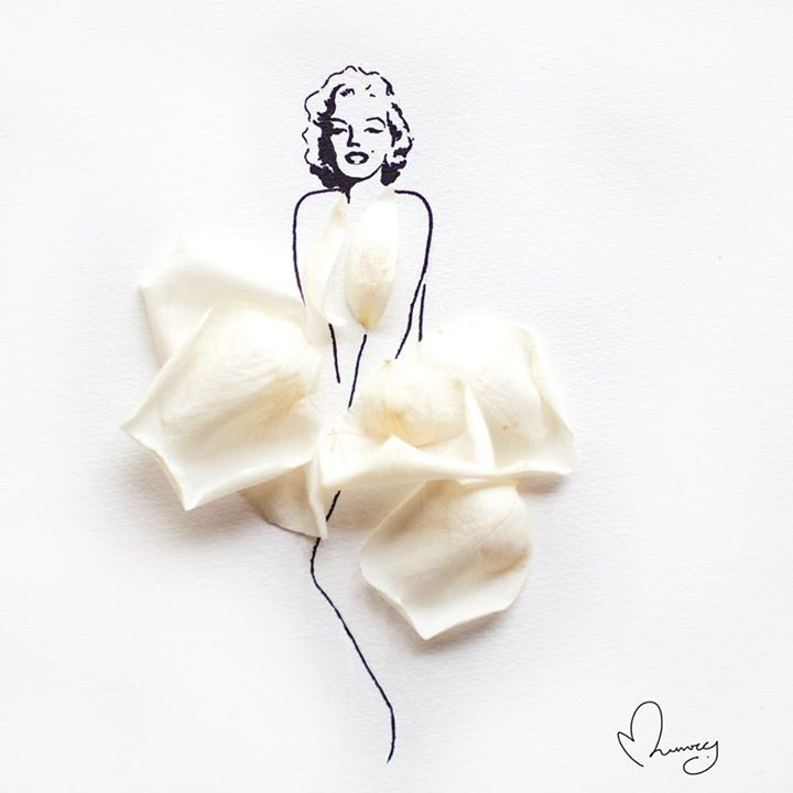 Art by Love, Limzy : Marilyn Monroe. Ink and rose petals on paper.