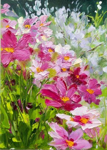 Cascading Cosmos 5x7 floral, oil, painting by artist Kit Hevron Mahoney #montableau.com #flower www.montableau.com