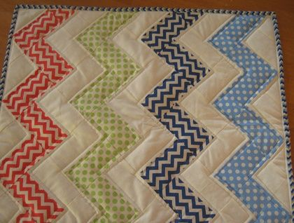 Hand pieced Chevron Bassinet Quilt