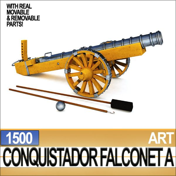 Conquistador Cannon Falconet A 1500. Type of Cannon used by Columbus, Balboa, Ponce de Leon and the others in Florida, California, Mexico, Peru etc. Faithful Reconstruction. C4D, 3DS, OBJ, DAZ, VUE6to12!