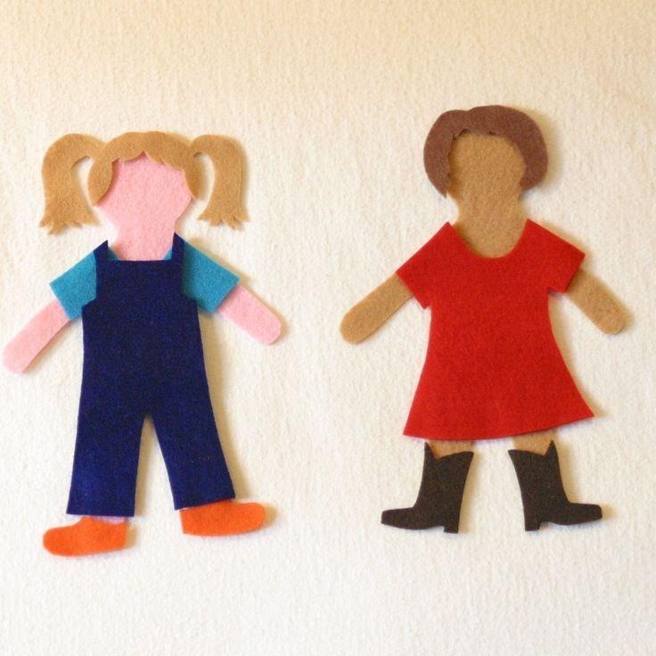 felt board patterns | Matilda Dress-Up Doll PDF Pattern flannel board / story board play
