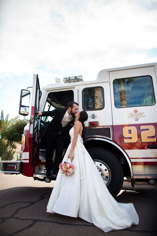 Pridie Wedding, Fire truck Kiss Photo By Bridgette Marie Photography