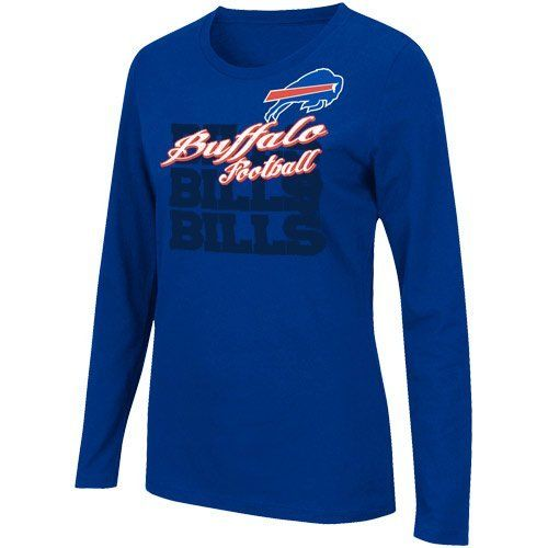 """Women's Buffalo Bills Gamer Gear Long Sleeve T-Shirt by Majestic. $25.94. Repeating NFL? team wordmark, city name and logo screenprinted on chestRibbed crew neckline. Classic fit Officially licensed Made in Nicaragua. 100% cotton jersey. Long-sleeve shirt. Show off your sporty sass in the women's Gamer Gear long-sleeve t-shirt! Crafted with 100% cotton, it features a repeating NFL? team name layered under the team's city and """"football"""" text in decorative script on t..."""