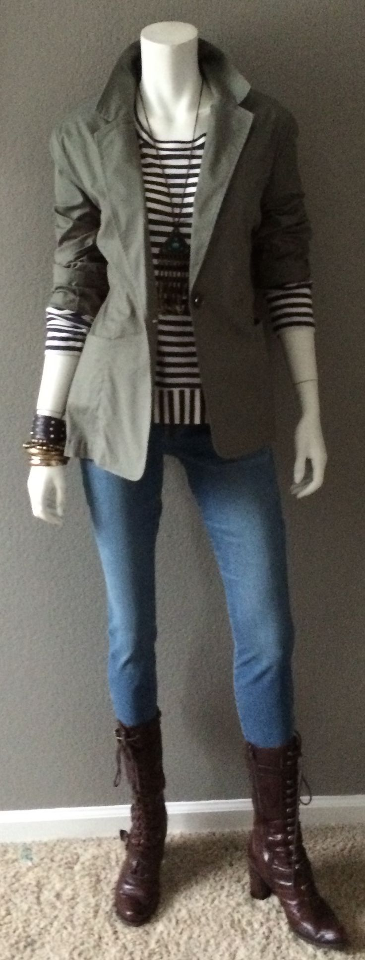 Daily Look: CAbi Spring '15 Olive Jacket, Bengal Stripe Tee, and La Jolla Cropped Skinny Jean with a rad boho necklace, leather bracelets and military boots.  Pop the collar for maximum cool.  #springfashion #cabiclothing