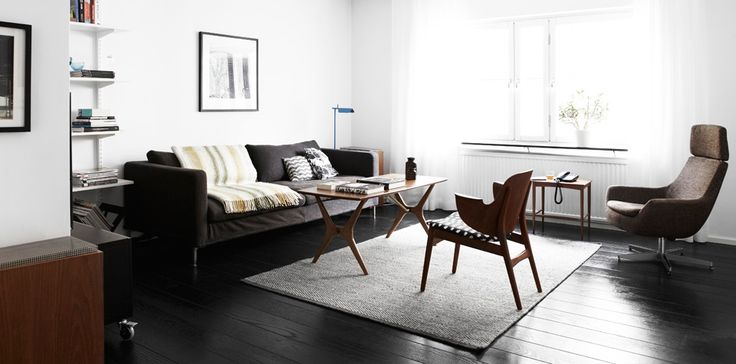 Afbeeldingsresultaat voor woonkamer donkere vloer witte wanden scandinavisch