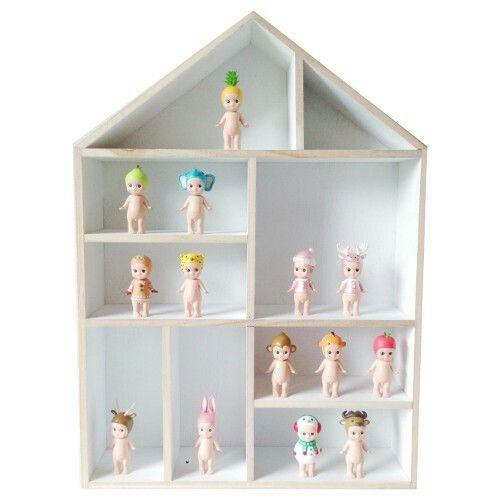 HOUSE SHELF DISPLAY BOX LARGE WHITE/NATURAL