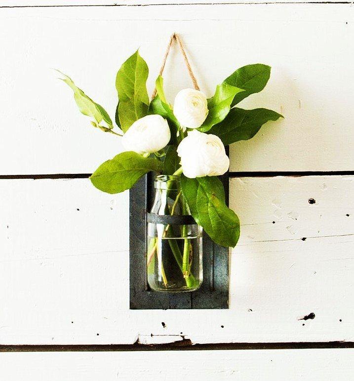 milk bottle flower vase jar metal holder sconce wall decor jute hanger hanging rustic farmhouse fixer - Flower Vase