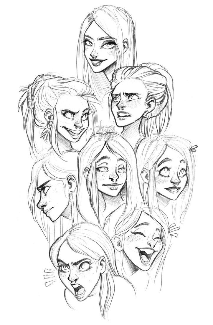 some expressions sketches of my OC Anne Marie   _ _ _   support me and see more at my Patreon