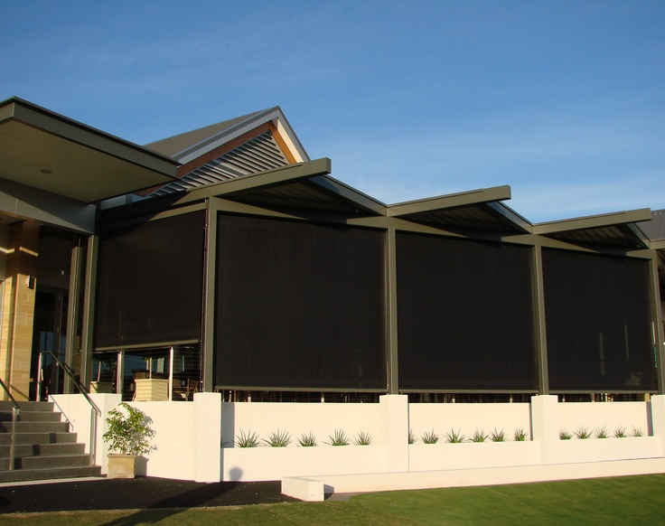 Modern Outdoor Retractable Blinds and Awnings  These Issey Blinds are installed externally to reduce heat build up inside the dining area yet still allow the patrons to enjoy the view of the beautiful golf course it overlooks.