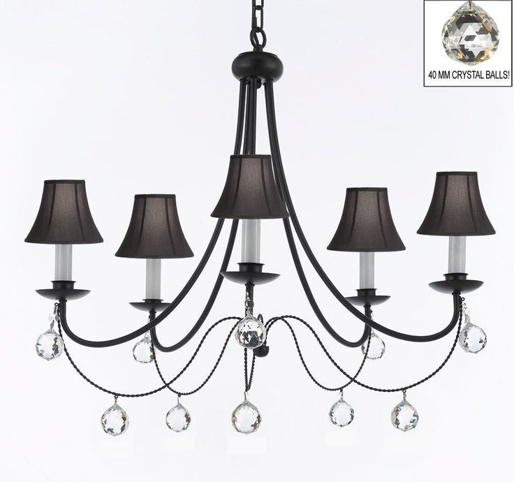 Plug In Empress Crystal Wrought Iron Chandelier Lighting With Black Shades H22.5 x W26