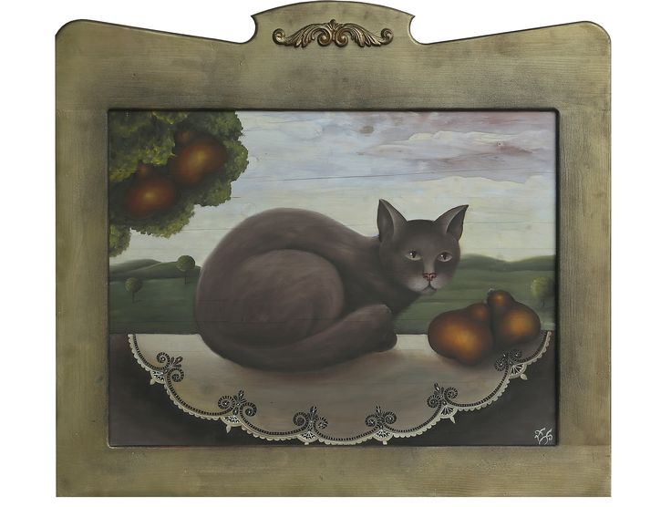 Dana Poláková - Hnedá mačka - kombinovaná technika, 59x78 cm, 2770 €