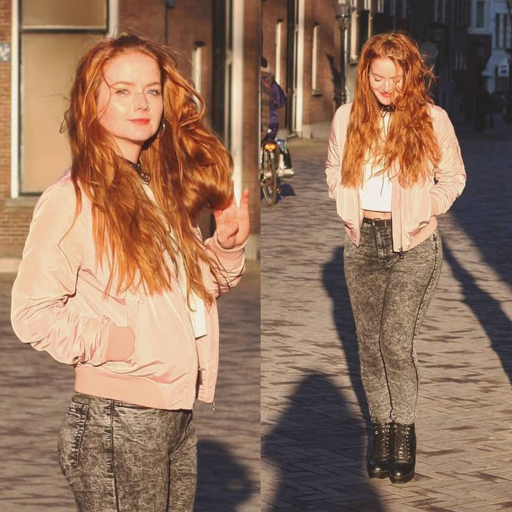 Aaaand another one cause I'm still feeling like a bag of shit both mentally and physically. . . . . #redhead #ginger #redhair #outfitoftheday #ootd #outfit #fashion #streetstyle  #bomberjacket #bomber #highwaistedjeans #blockheels #stradivarius #croptop #riverisland #urbanclassics #forever21 #utrecht #choker