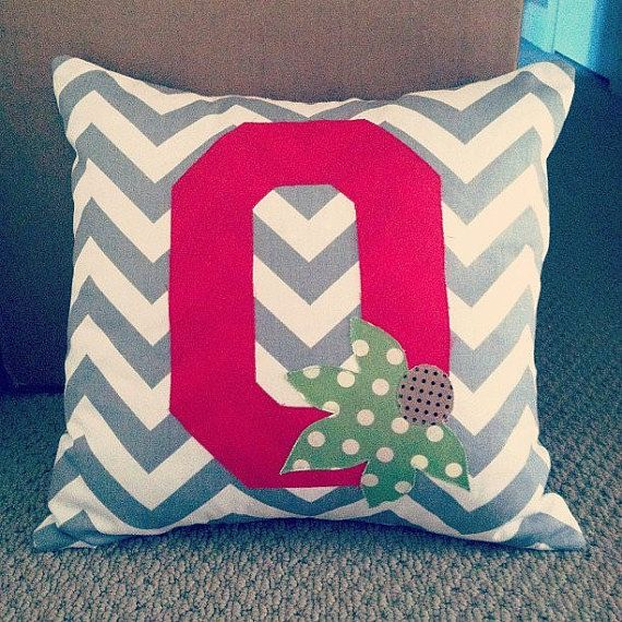 The Ohio State University Pillow by SweetPeaDean // so mad Etsy shop is currently on vacation and has been since.before she had a baby. Fingers crossed she returns because I really want one of these!!!!