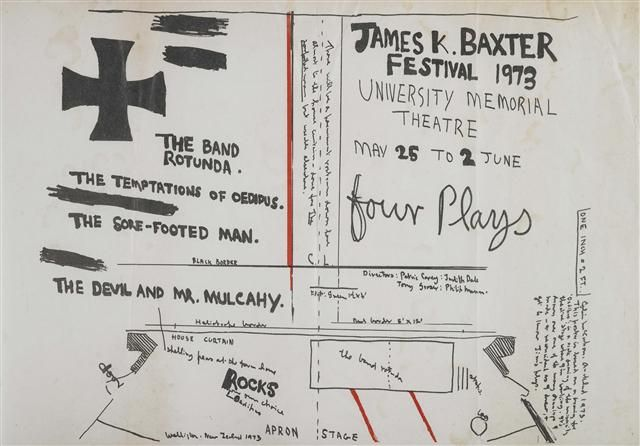 Poster for 'James K. Baxter Festival 1973: Four Plays' - Ngā Toi Arts Te Papa - Museum of New Zealand Te Papa Tongarewa