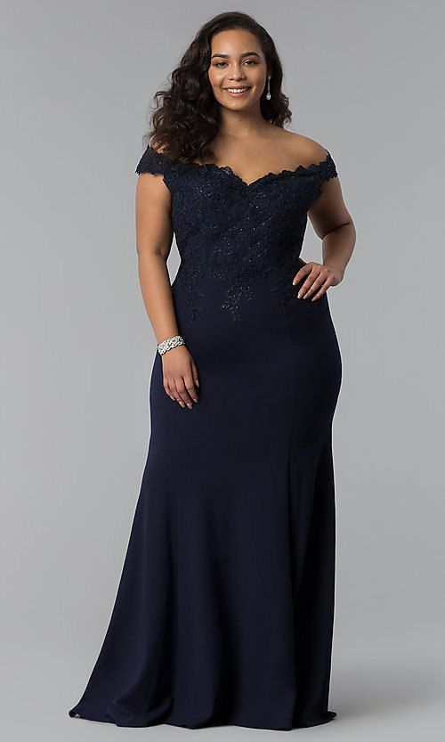ab8a9ece3b432 Off-Shoulder Long Plus-Size Prom Dress with Lace | Luxury dresses ...