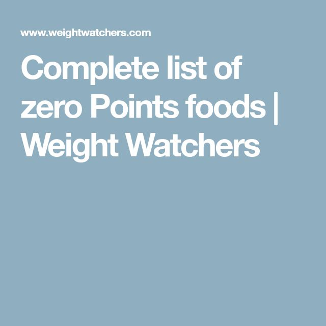Complete list of zero Points foods | Weight Watchers