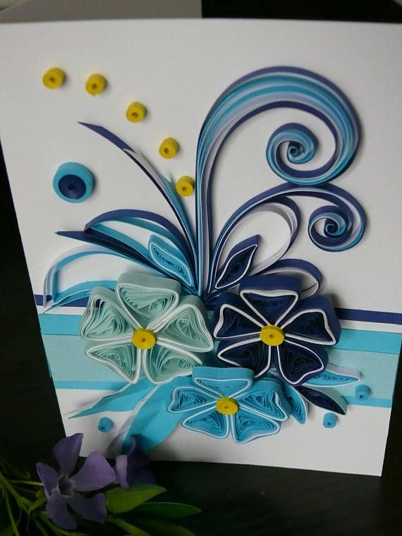 Birthday quilling card with beautiful flower, greeting card. Size of card: 105 x 148 mm. Designed to sit vertically. The card is packaged carefully to ensure a safe delivery. Inside of the card has a list for your wishes. I will send the card with registered post to ensure that