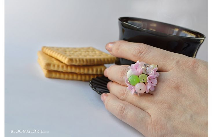 Ring with tenderness flowers #pink #tenderness #gem #silver #handmade #jewelry