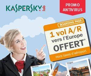 Promotion Kaspersky Lab : 1 billet d'avion A/R en Europe offert pour l'achat d'un logiciel anti-virus à choisir parmi une sélection | Maxi Bons Plans