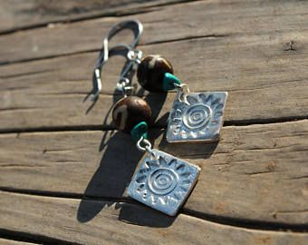 Primitive Silver Earrings - African Art - Organic Jewelry - Recycled Silver - Fine Silver Earrings - Travel Africa - Birthday Gifts for her