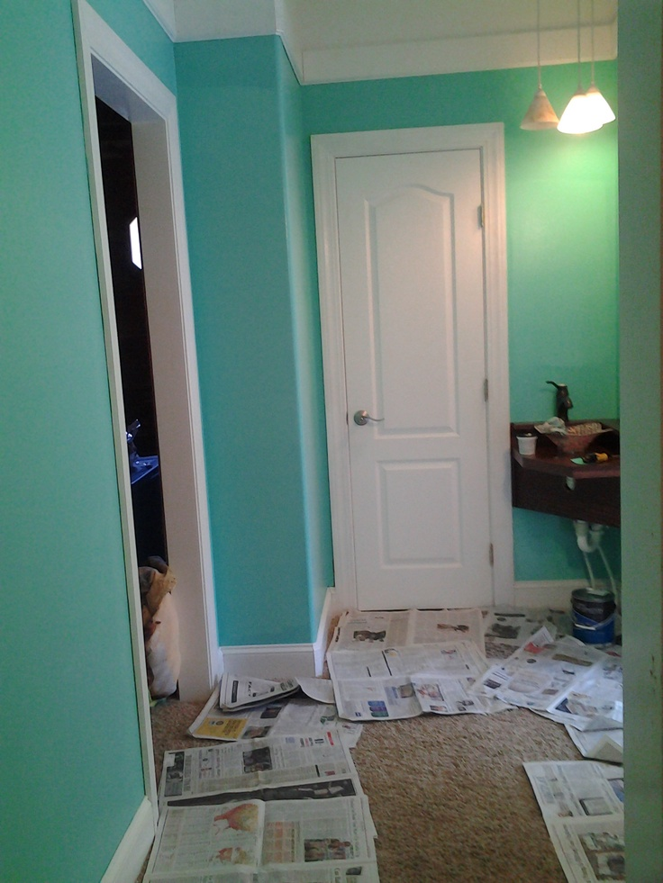 Single coat over chocolate brown wall dive in valspar - Clark and kensington exterior paint ...