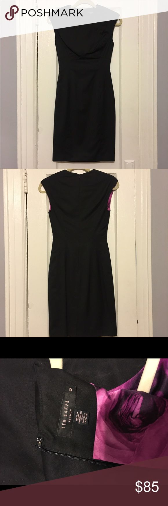 Ted Baker Little Black Dress Classic little black dress with silky lining. Dress runs small. It's perfect for a work/professional event or wedding/formal event as well. Ted Baker Dresses
