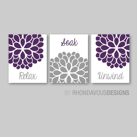 Bathroom decor bathroom art relax soak unwind flower bathroom bath art bath decor - Purple bathroom accessories uk ...