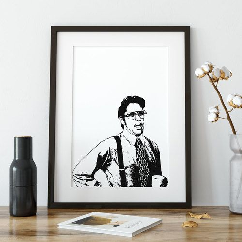 Bill Lumbergh Office Space Movie Art Poster Print Black Frame With Mat Wood Table Decorative