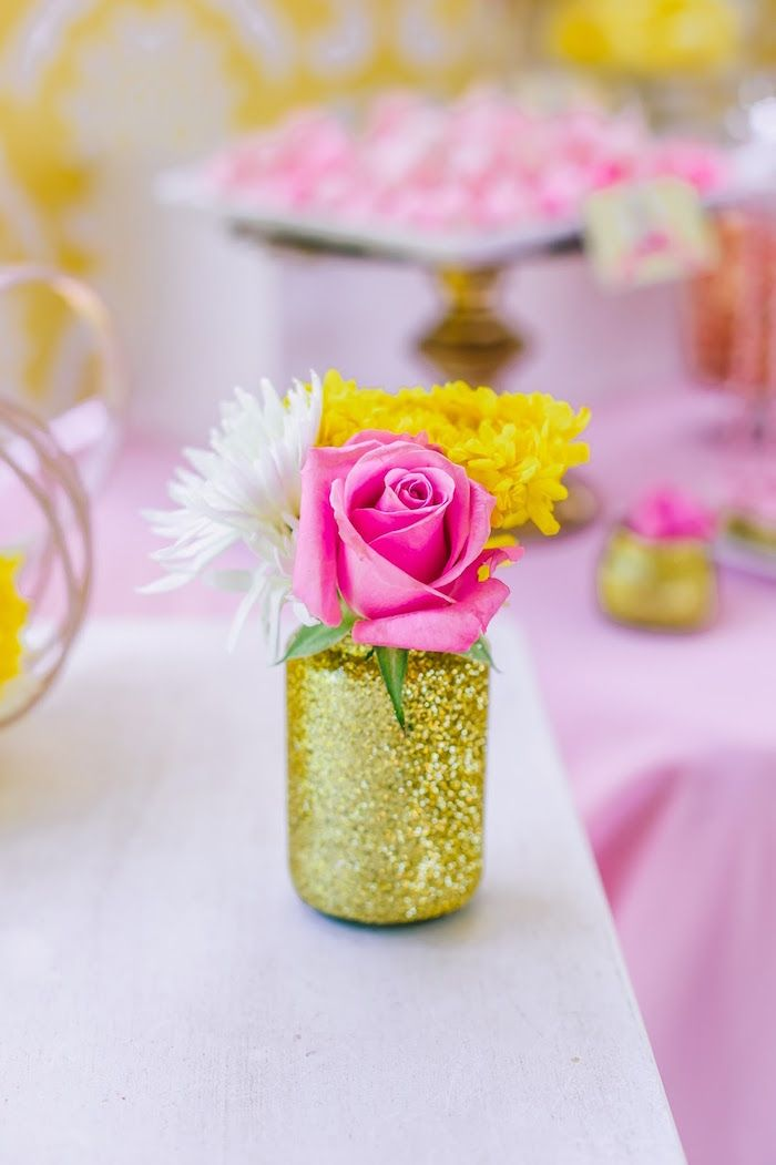 Glitter Bottle Floral Arrangement From A Princess Belle Beauty And The Beast  Birthday Party On Karau0027s