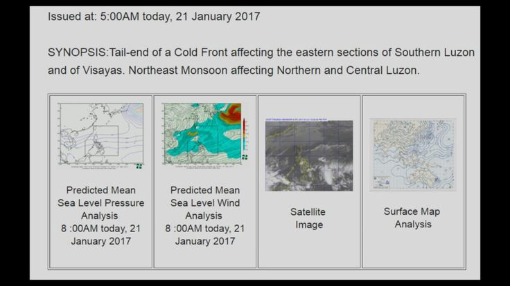 PAGASA January 21, 2017 Daily Weather Forecast