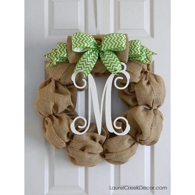 Monogram Front Door Decoration: Burlap Monogram Wreath For Front Door Decor By