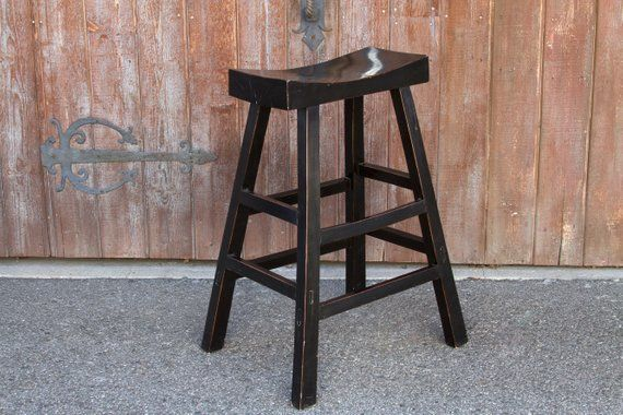 Vintage Wood Stools Slender And Tall Constructed Of Solid Elm
