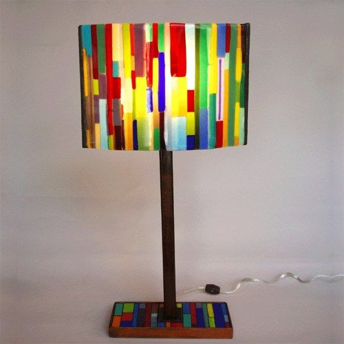 Fused glass lamp - Stripes pattern - One of a kind