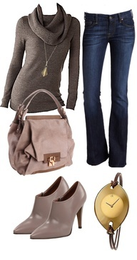 Love the shirt/ sweater, jeans and purse. Dont like the shoes and watch would be pretty in silver