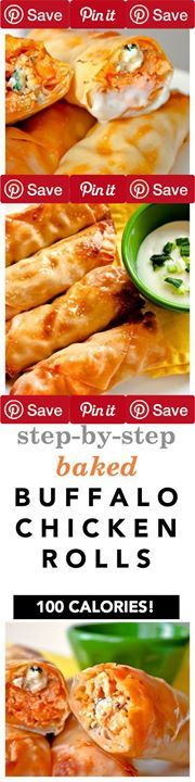 Baked Buffalo Chicken Rolls Makes 12 Rolls Crispy and full of flavor these baked buffalo chicken egg rolls never disappoint! Theyre easy to make freeze well and serve as theIngredientsMeat1 cup Chicken cooked and shredded1/2 cup Franks red hot sauceCondiments1 Blue cheese dressingBread & Baked Goods12 Egg roll wrappersDairy1 cup Blue cheeseDeli1 cup Broccoli slaw or coleslaw dry