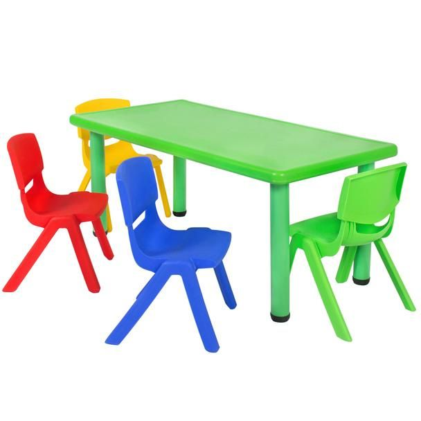Multicolored Kids Plastic Table And 4 Chairs Set Table And Bench