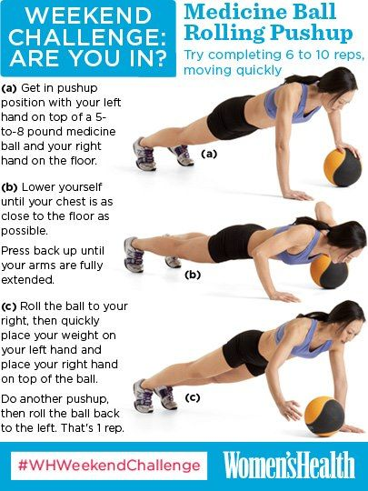 #WHWeekendChallenge Medicine Ball Rolling Pushup. Incorporating a medicine ball into your pushup
