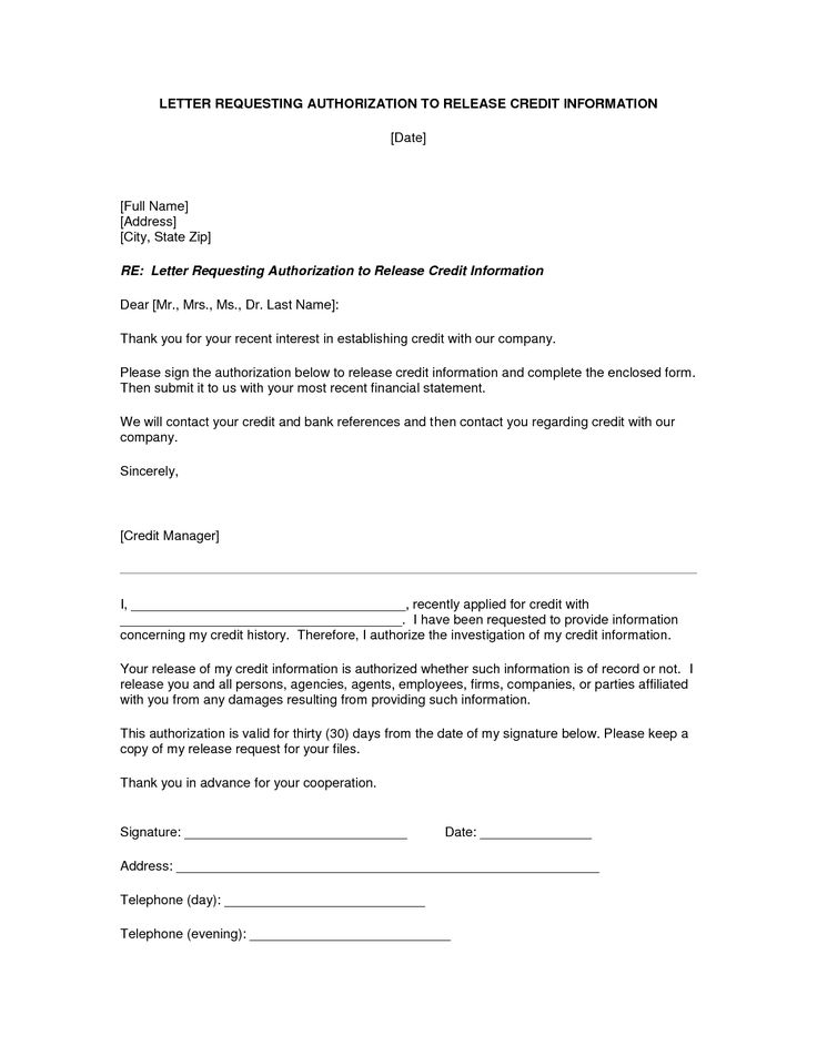 Authorization Letter Release Information Best Template Collection