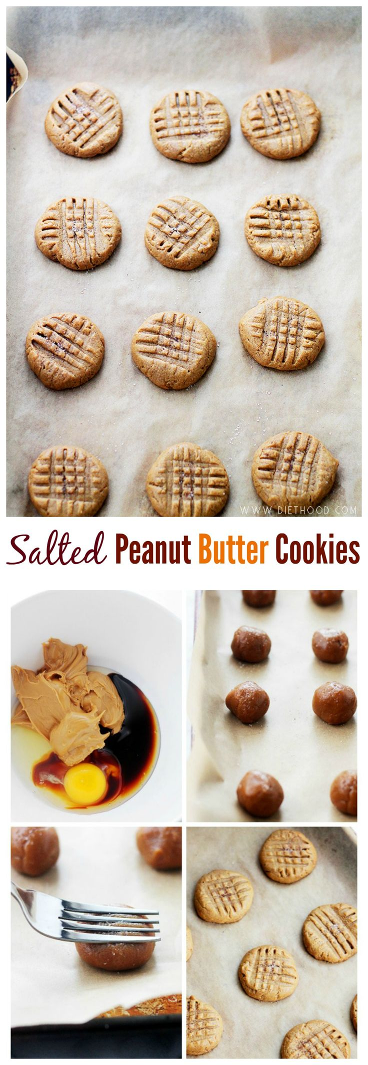 Made with just FOUR ingredients, these Peanut Butter Cookies are fudgy, sweet, salty and gluten free!