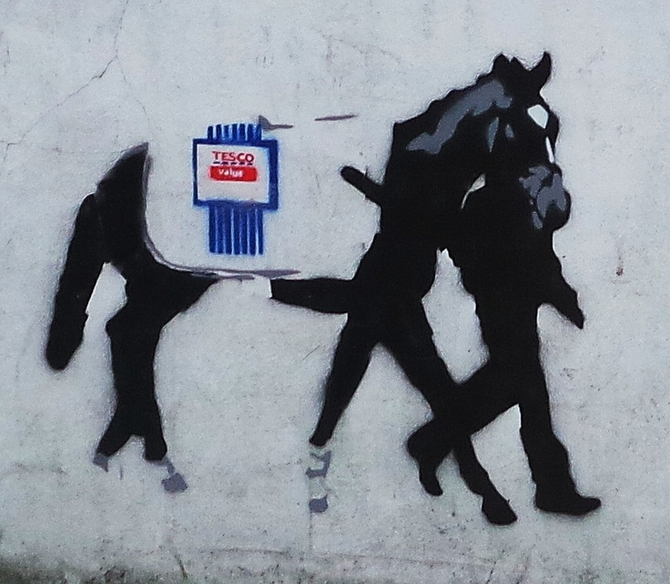 Everyone's getting involved in the horse meat debate, even London's street artists. Although we are not sure who this horse is by (anyone?) we do like the comment. You can see this Tesco Value Horse Meat piece of street art on Hawley Road in Camden and you can find horse... Read More →