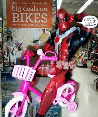 """May is National Bike Month, be like Deadpool and come on by to get yourself a bike at your local Toys R Us! Remember, safety first, don't forget to purchase a helmet and safety pads as well! #toys #toysrus #toysrussalinas #salinas #salinastoysrus #tru #tru5820 #trusalinas #nationalbikemonth #bikes #helmet #family #safety #elbowpads #kneepads #may #trainingwheels #deadpool #acba #articulatedcomicbookart #montereylocals #salinaslocals- posted by Toys""""R""""Us Salinas…"""