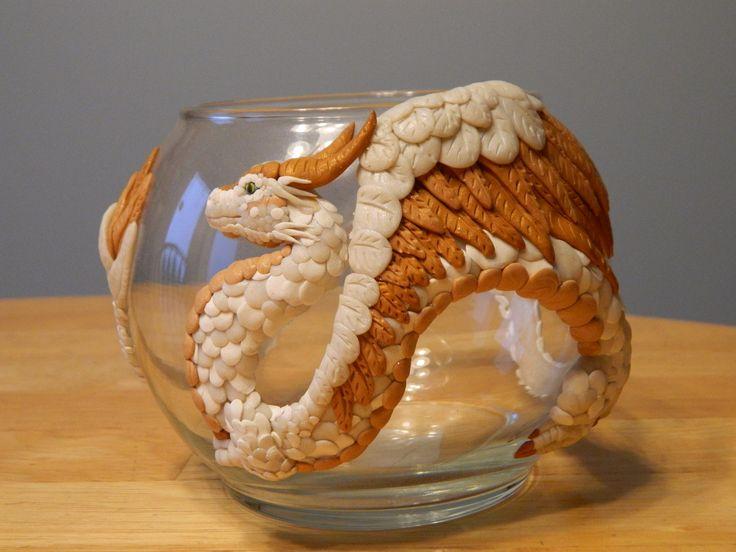 Polymer clay Dragon on glass
